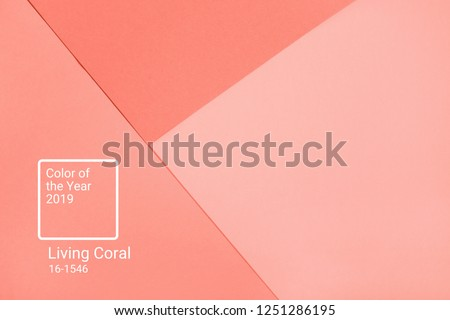 Living Coral abstract geometric paper background. Color of the year 2019. Main trend concept. #1251286195