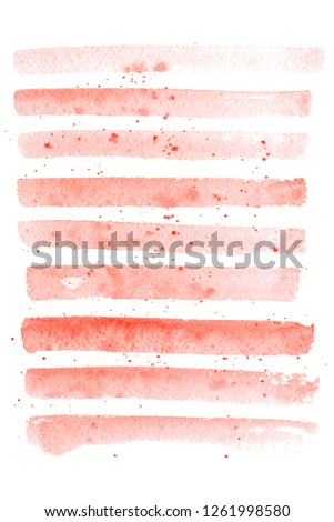 Living coral color. Abstract paint spots on white background. Color watercolor stains, blots, splashing. Color of the Year 2019