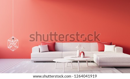 Living Coral Interior / Color of The Year for festive and valentine / 3D render  interior