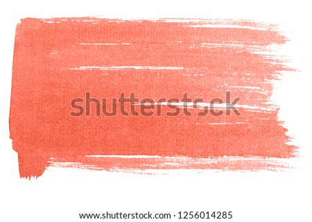 Living Coral watercolor background isolated on white. Bright picture, color of the year 2019. 16-1546 #1256014285