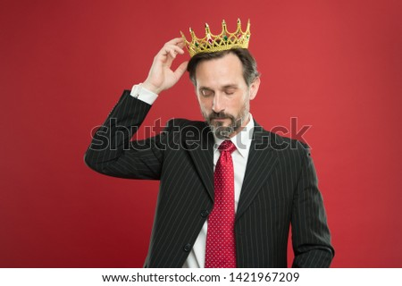 Living life like big boss. Big boss wearing jewelry crown on red background. Powerful big boss with crowned head in formalwear. Mature businessman or big boss. #1421967209