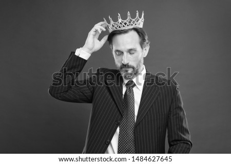 Living life like big boss. Big boss wearing jewelry crown on red background. Powerful big boss with crowned head in formalwear. Mature businessman or big boss. #1484627645