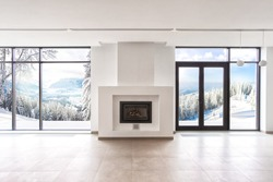 living modern room with panoramic windows and a white fireplace
