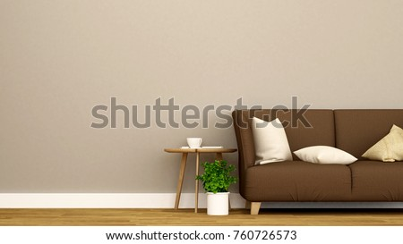 Living room and empty space for artwork of apartment or coffee shop - Interior Design - 3D Rendering