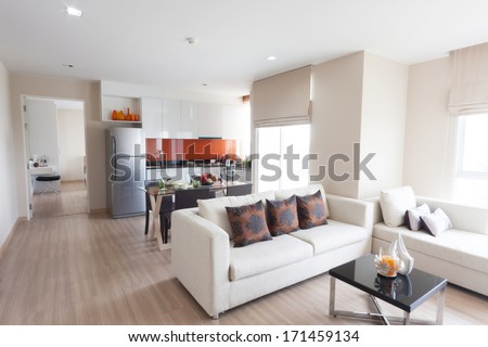 living room and kitchen with...
