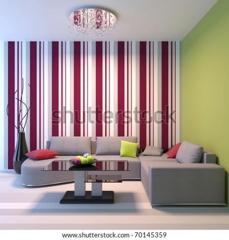Living room. Angular sofa, dinner-wagon, chandelier, vase.