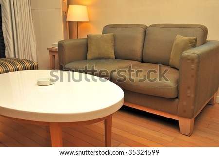 Living room area of a luxurious, high class hotel