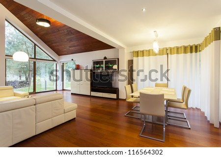 Living room connected with dining room in modern house