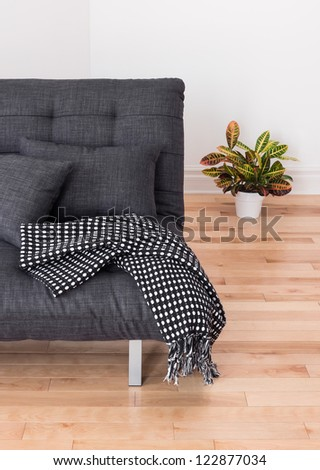 Living room detail. Gray sofa with cushions and throw, and colorful plant.