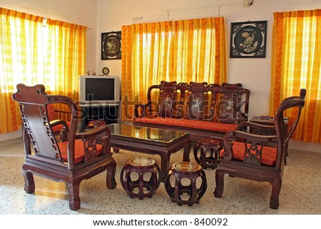 Living Room Furnished With Antique Chinese Rosewood Furniture ...