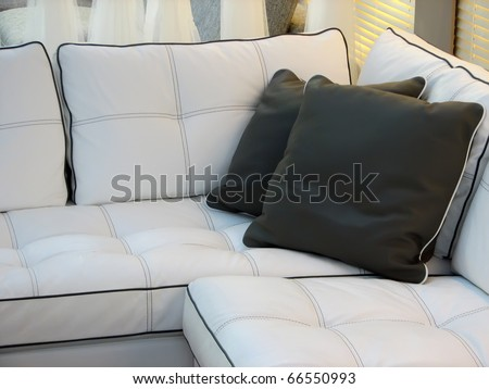 Living room furniture. Leather furniture. Leather couch with pillows.