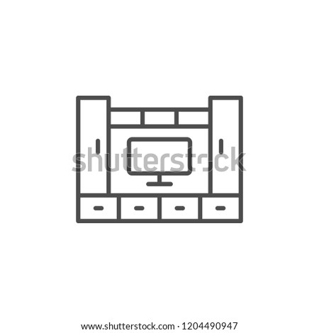 Living room furniture line icon isolated on white