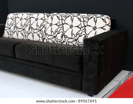 Living room furniture. Living room couch. Interior furniture sofa with cushions.