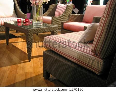 Living room furniture on display