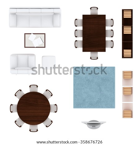 square table top view. Living Room Furniture Top View Collection. Sofa, Armchair And Coffee Table,  Round Table Square