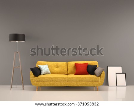 living room gray wall with yellow sofa-interior background