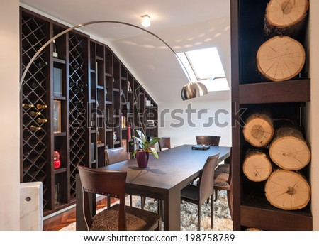 Living room in loft apartment