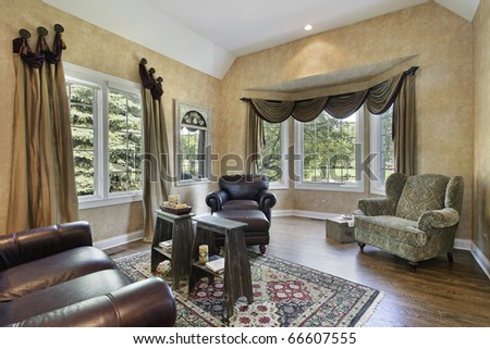 Living Room on Living Room In Luxury Home With Hardwood Floors Stock Photo 66607555