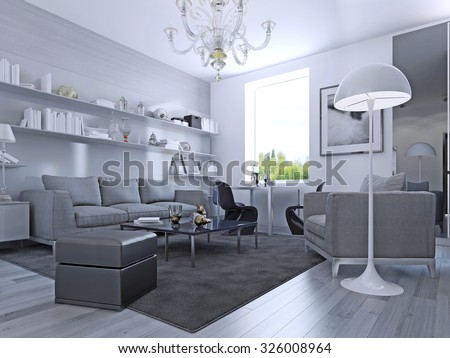 Living Room In Modern Style Elegant Living Room With White Walls And Light G