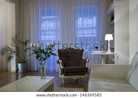 Living room in the evening lights