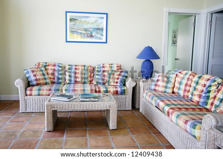 living room in tropical villa