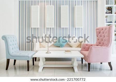 Living room interior - Classic Vintage Style Furniture Set in a living room. Interior of living room in house.  #221700772