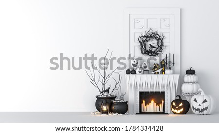 Living room interior decorated with lanterns and Halloween pumpkins, Jack-o-lantern, for Halloween party, 3D Rendering Stock photo ©