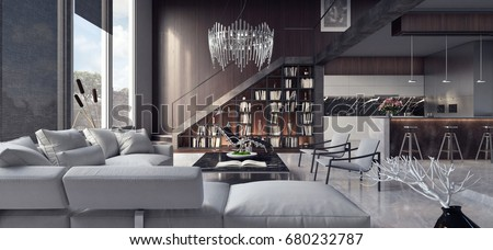 Living room, interior design 3D Rendering, 3D Illustration