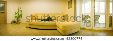 Living room interior design panoramic view