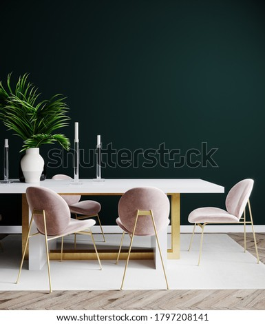 Living room interior design scene with pink chair, table and empty green wall, room interior mock up, empty room interior background, green empty wall mockup, 3d render