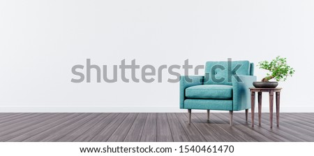Living room interior design with green velvet armchair and bonsai tree with white wall and copy space on left 3d render 3d illustration