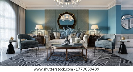 Living room interior in classic Mediterranean style with a beige sofa and two blue armchairs and blue walls, a TV unit and interior decor. 3D rendering.