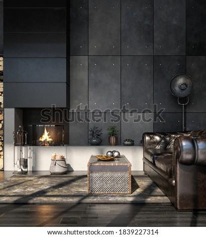Living room interior in loft, industrial style, 3d render