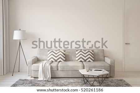 Shutterstock Living-room interior in scandinavian style 3d render.