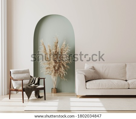 living room interior mock up, modern furniture and decorative green arch with trendy dried flowers, white sofa and armchair, 3d rendering