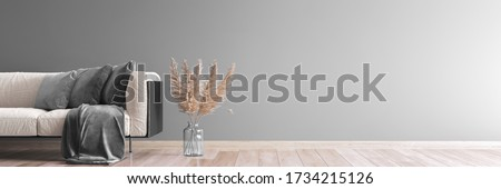 living room interior mock up, modern furniture and trendy home accessories, on gray background, panorama, 3D render, 3D illustration Stock photo ©
