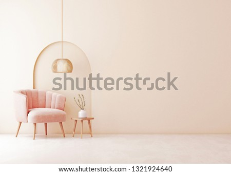 Living room interior wall mock up with pastel coral pink armchair, pendant lamp and arch on empty beige wall background. 3D rendering.