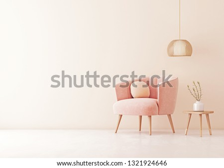 Living room interior wall mock up with pastel coral pink armchair, round pillow, pendant lamp, table and plant on empty beige wall background. 3D rendering.