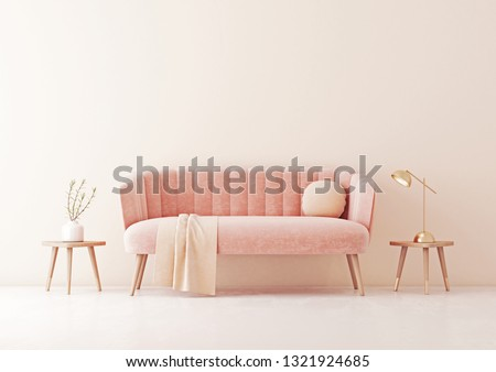 Living room interior wall mock up with pastel coral pink sofa, round pillow and plaid on empty beige wall background. 3D rendering.