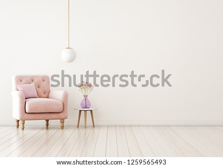 Living room interior wall mock up with pink tufted armchair, pastel pillow, hanging lamp and flowers in vase on  empty warm white background.  Free space on right. 3D rendering.