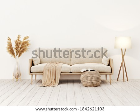Living room interior wall mockup in warm tones with beige linen sofa, dried Pampas grass, woven table and boho style decoration on empty wall background. 3D rendering, illustration.