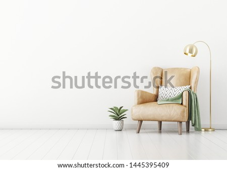 Living room interior wall mockup with tan brown leather armchair, pillow, plaid, green plant in pot and brass floor lamp on empty white wall background. 3D rendering, illustration.