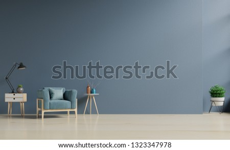 Living Room interior with blue velvet armchair and cabinet,3D rendering