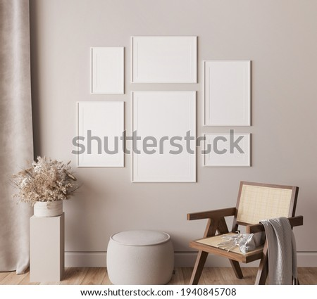 Living room interior with frame mock up, natural wooden furniture and trendy home accessories on bright beige background, 3d render, 3d illustration Stock photo ©