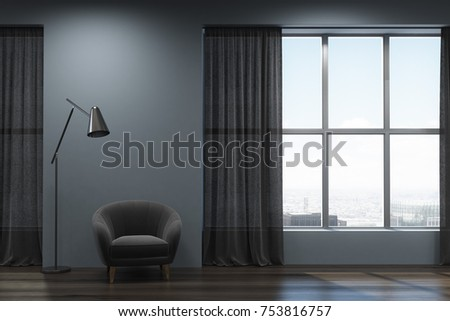 Living room interior with gray and dark wooden walls, a wooden floor, a gray armchair standing near a large window with dark curtains. 3d rendering mock up