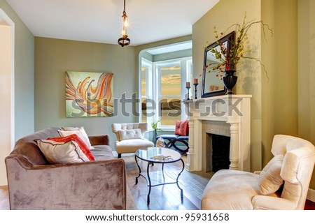 Living room interior with nice furniture.