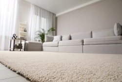 Living room interior with stylish furniture, focus on soft carpet