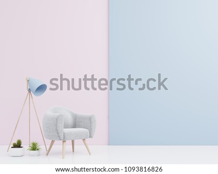 Living Room interior with velvet armchair , shelf,lamp with books on colorful variety wall background. 3D rendering.