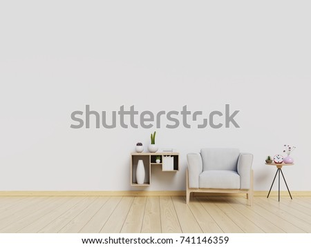 Living Room interior with velvet armchair , shelf with books   on white wall background. 3D rendering.
