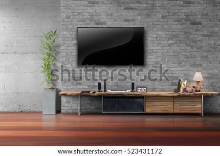 living room led tv on brick...